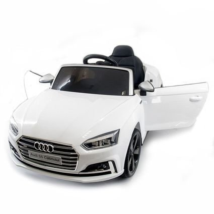Детский электромобиль Audi S5 Cabriolet LUXURY белый (колеса резина, сиденье кожа, пульт, музыка)