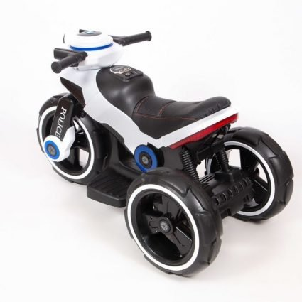Электромотоцикл Y-Maxi YM 198 Police белый (кресло кожа, амортизация, подсветка, музыка, скорость 6-7 км\ч)