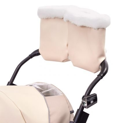 """Санки-коляски Pikate Deluxe «Ivory» (морозостойкая экокожа, овчина, 3 положения спинки, краска рамы """"черный металлик"""")"""