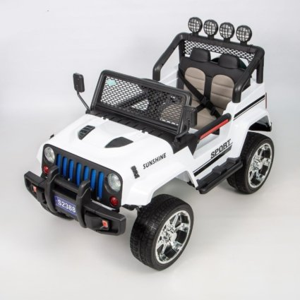 Электромобиль Jeep T008TT белый (2х местный, задний привод, колеса резина, кресло кожа, пульт музыка)
