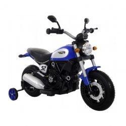 Детский мотоцикл Qike Чоппер красный - QK-307 синий (колеса резина, кресло кожа, ручка газа)