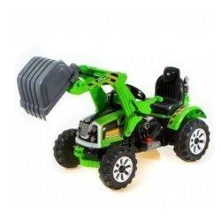 Детский электромобиль трактор на аккумуляторе зеленый - JS328A-Y (колеса накладки резина, ковш)